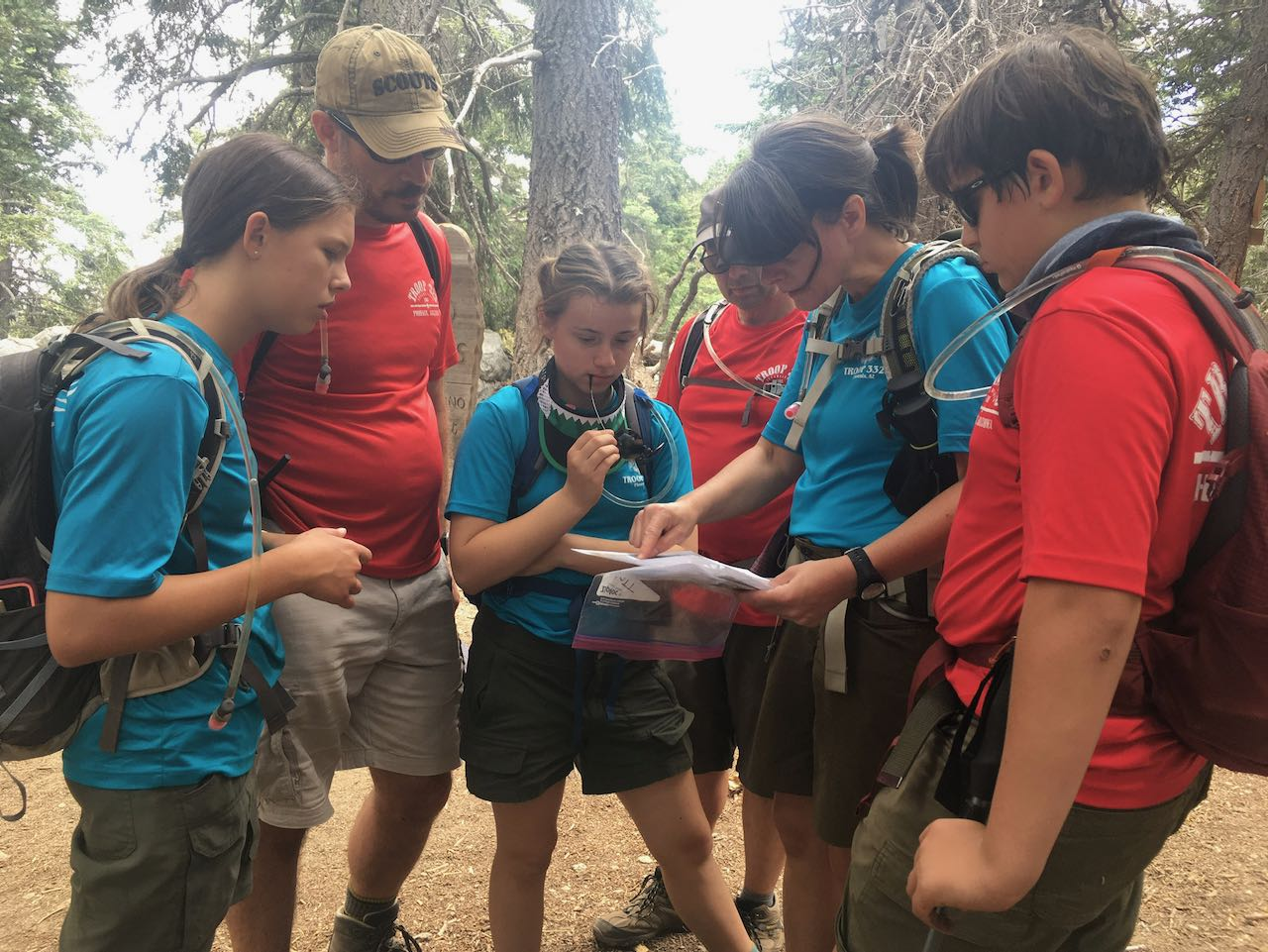 Scouts reviewing map